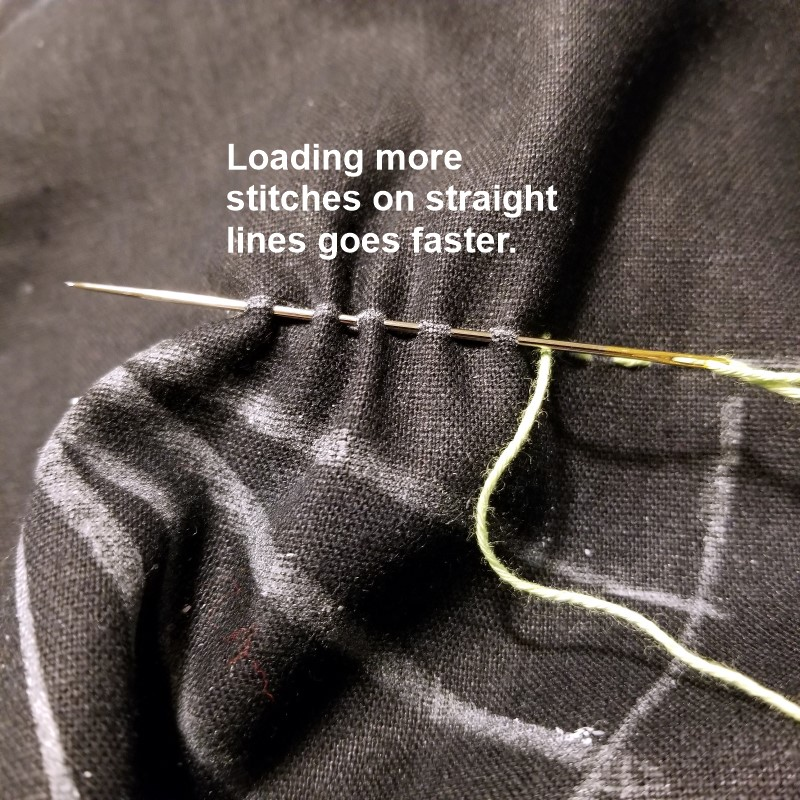 Straight Sashiko Stitches on Needle