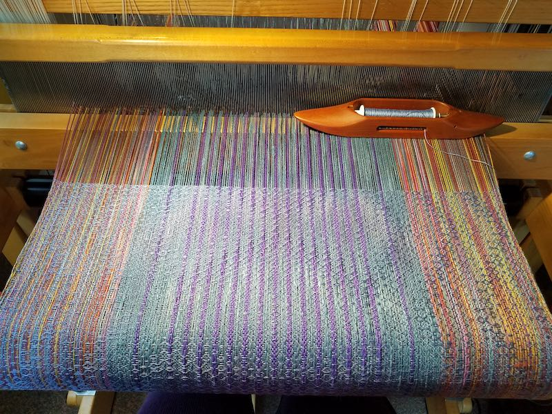Pastel towel on loom