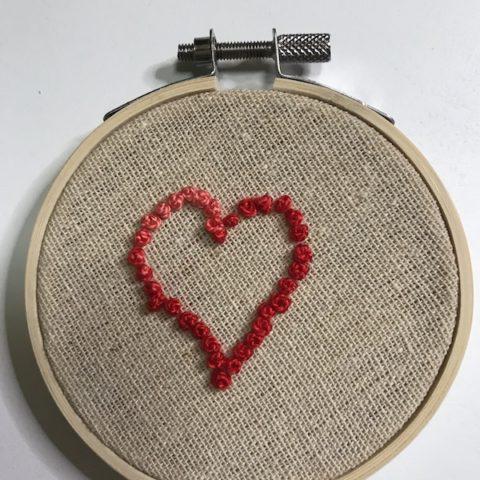 French knot heart sampler