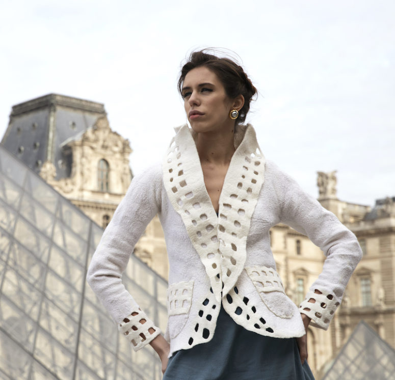 White wet felted jacket by Jenny Hill