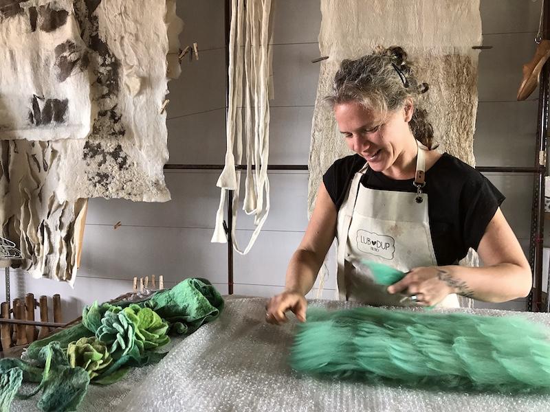Michaela at work in her studio