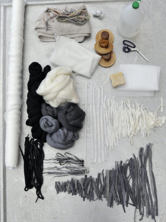 Tools and supplies ready to make a poncho