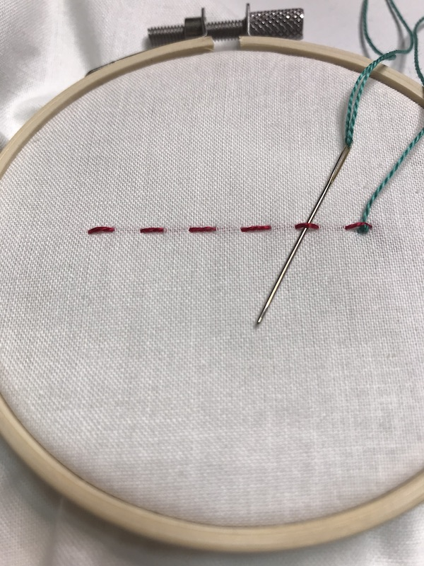 Starting the lace running stitch