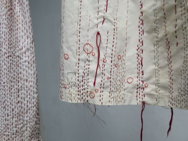 Loss Installation, detail of stitching
