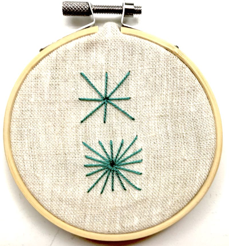 Finished sample of Algerian Eye embroidery stitch using #8 pearl cotton