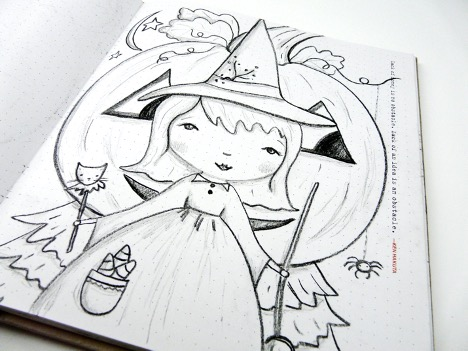 Halloween witch sketch