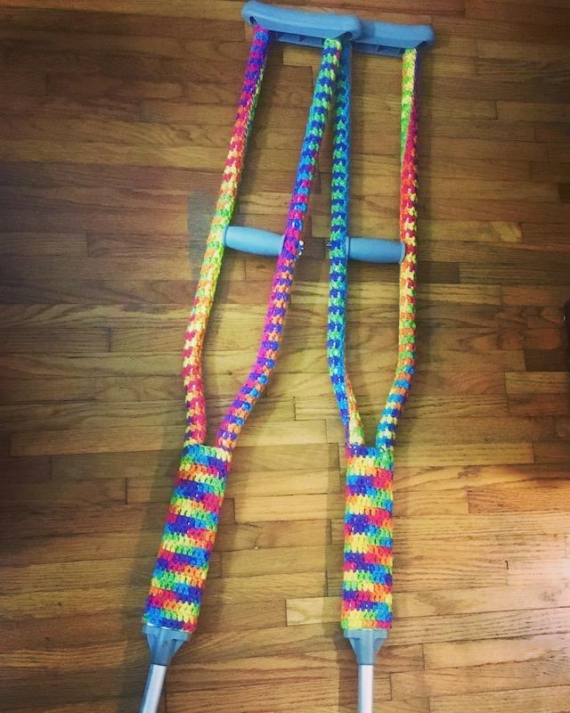 Yarn bombed crutches
