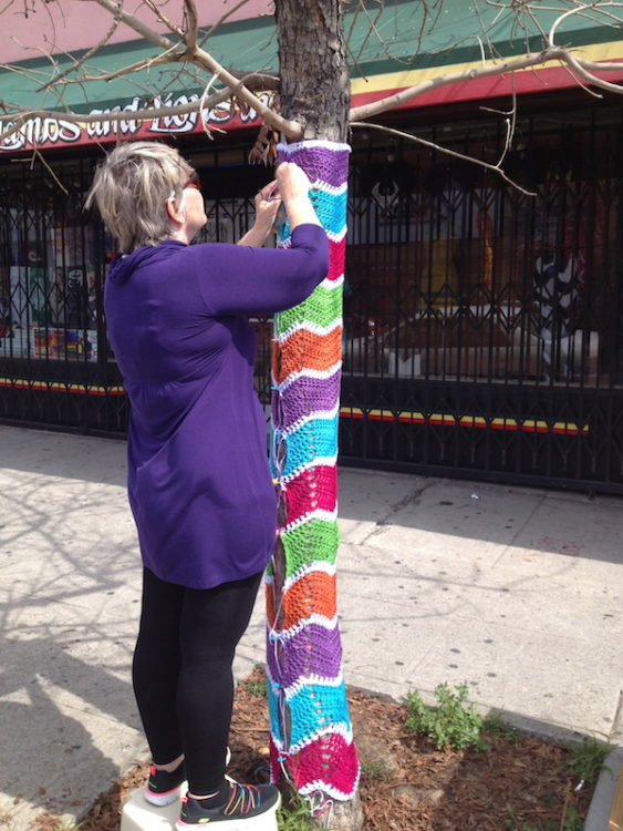 Installing a yarn bomb