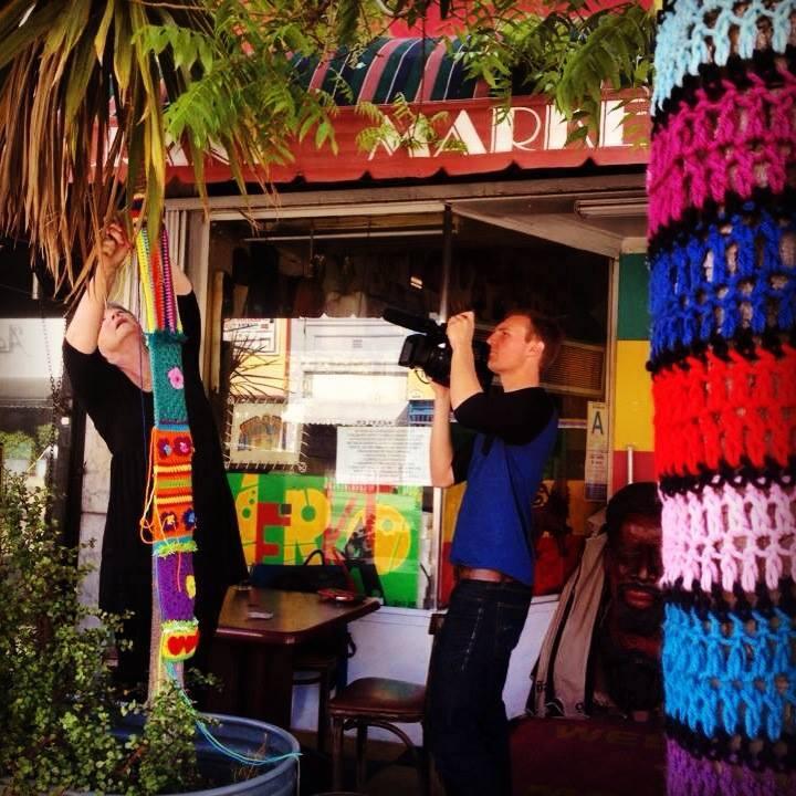 Filming Susie yarn bombing