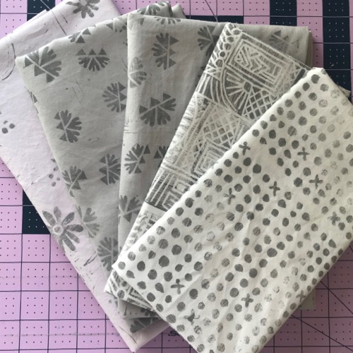 Bundle of grey printed reprinted and repurposed fabrics