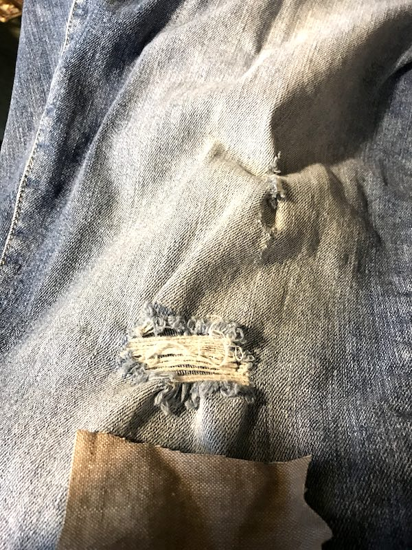 Selecting fabric to mend jeans