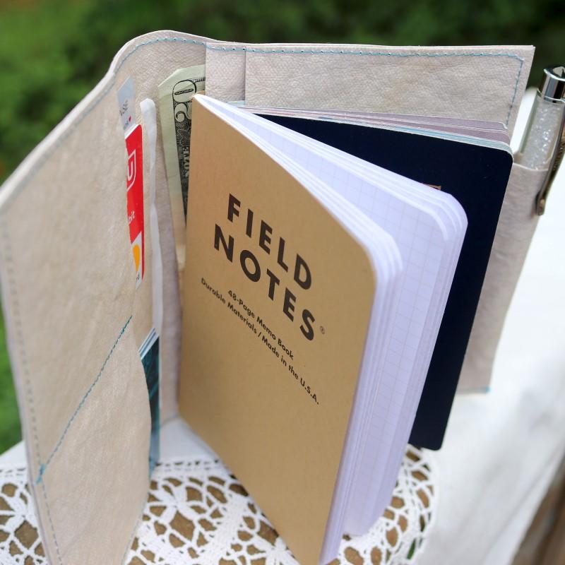 Open wallet showing field nots and wallet