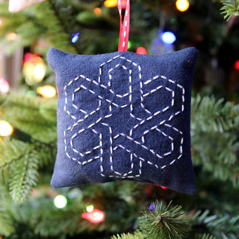 Sashiko Hex Star Ornament