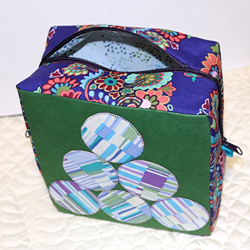 Boxy Sewing Case with Kraft-Tex peek inside