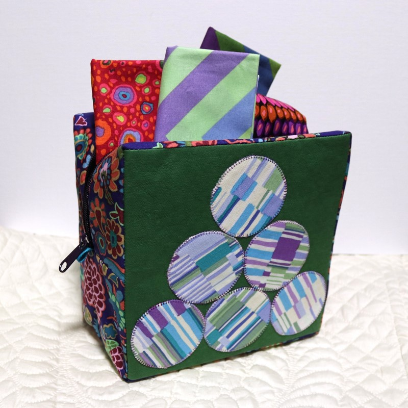 Boxy Sewing Case with Kraft-Tex Standing with Fabric