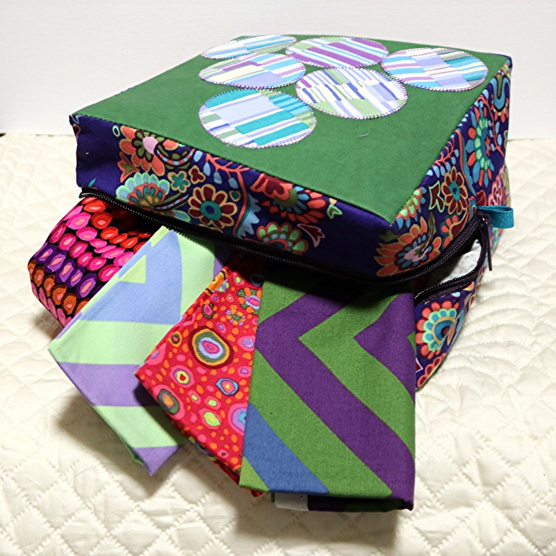 Boxy Sewing Case with Kraft-Tex on side with fabric