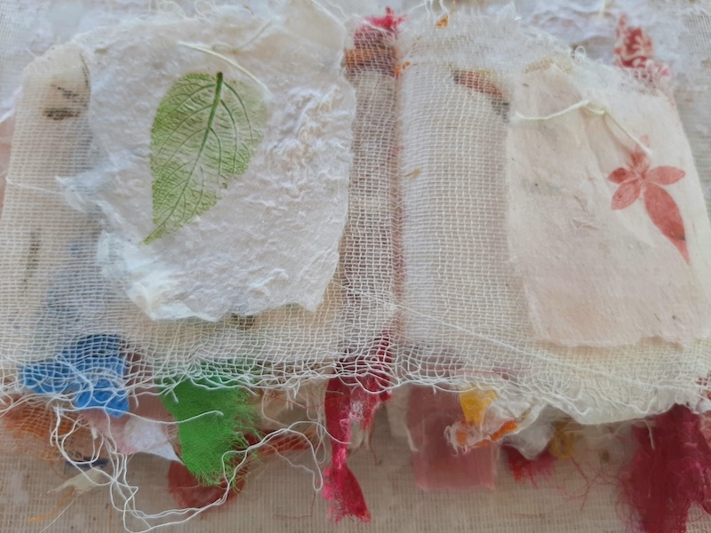 Handmade paper and cheesecloth