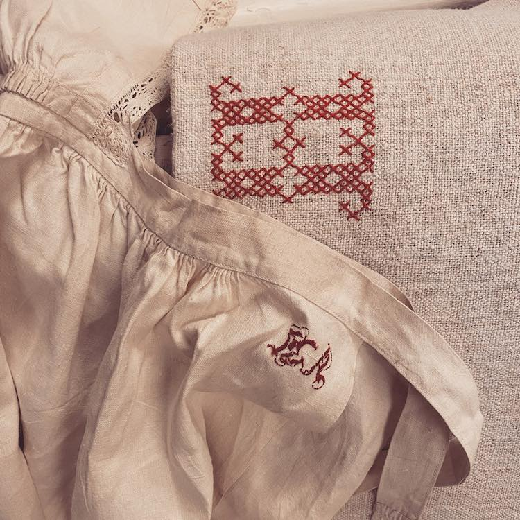 Close up of old linens with embroidery