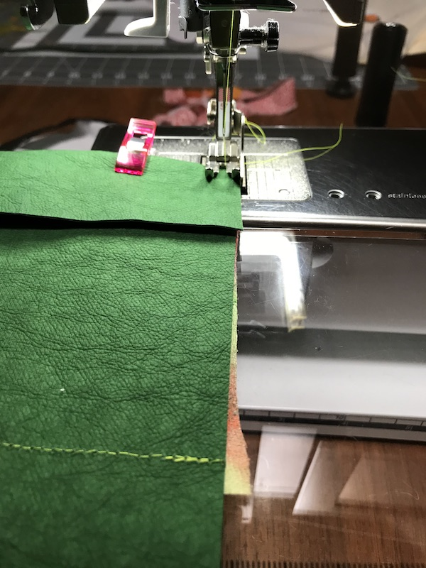 """Stitch 1/4"""" both top and bottom to secure the flaps"""