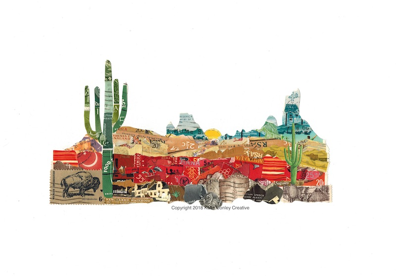 Southwest Stamp Art by Katie Conley