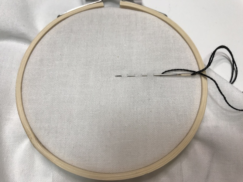 Several stitches now on the needle