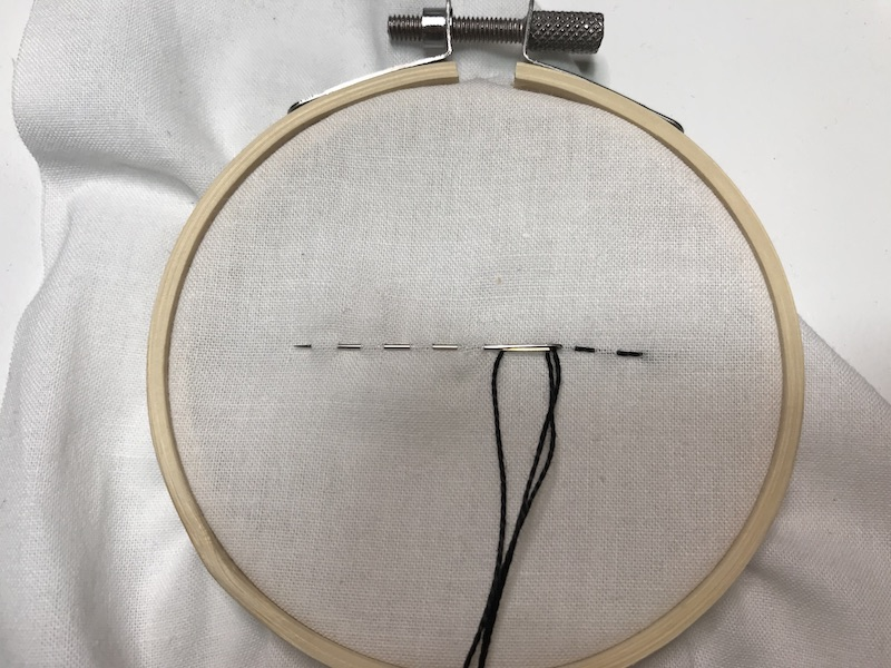 Another set of stitches loaded on the needle