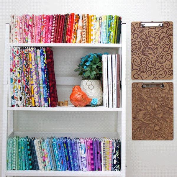 Part of Jess' personal fabric stash organized on Mini Bolts