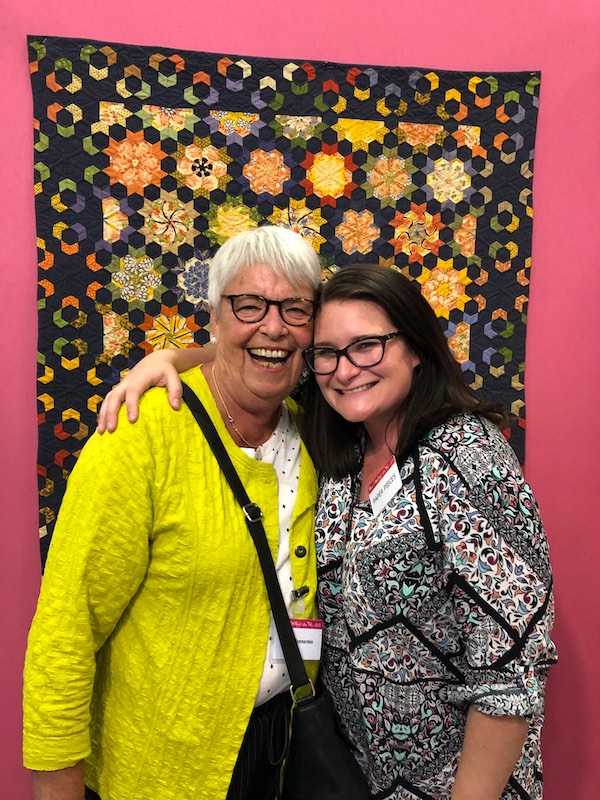 Willyne Hammerstein and Jess Finn at the Nantes, France Quilt Show