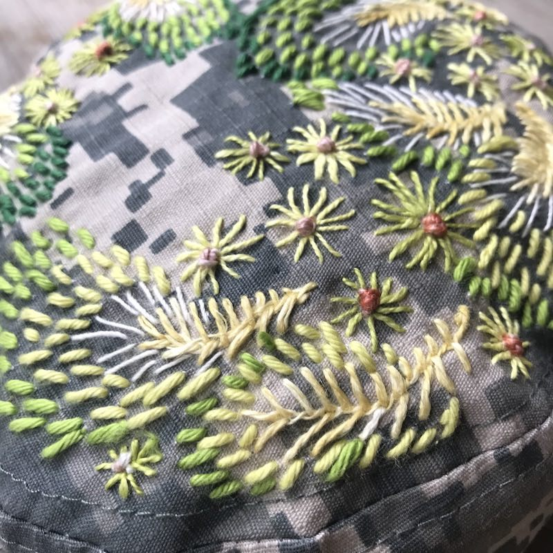 Detail of embroidery on a hat
