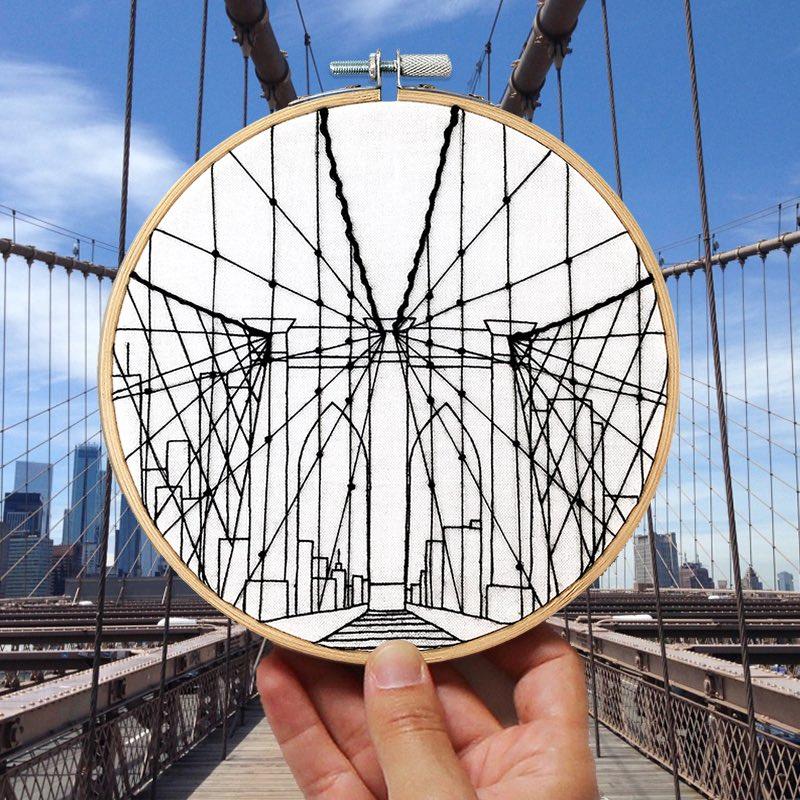 Brooklyn Bridge Embroidery