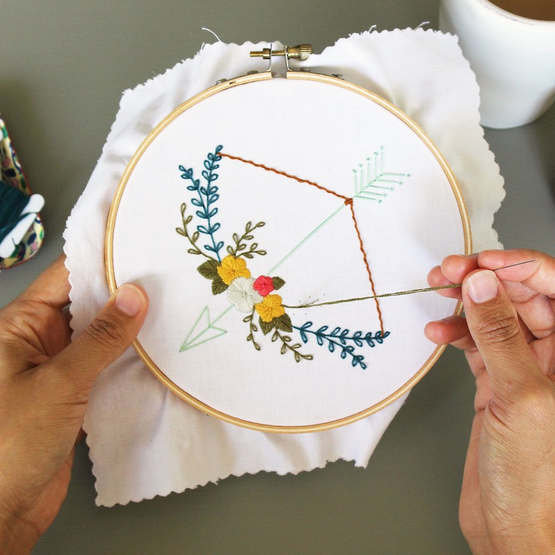 Floral Bow and Arrow Stitching