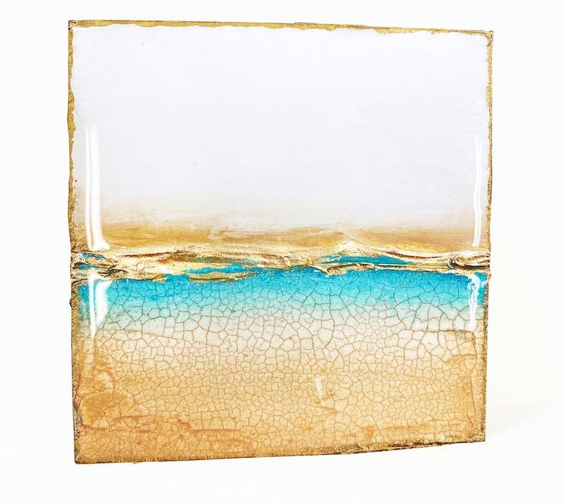 Gold and aqua painting