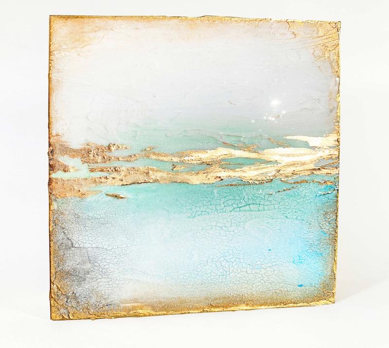 Gold and aqua painting 2