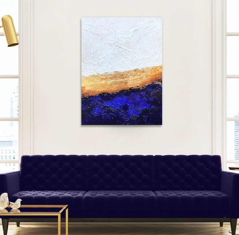Blue and Gold painting by Alyson