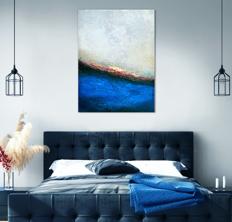 Blue, black with a touch of red painting by Alyson