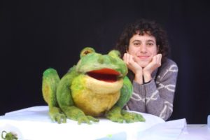 Andrea and frog during production of Tulip