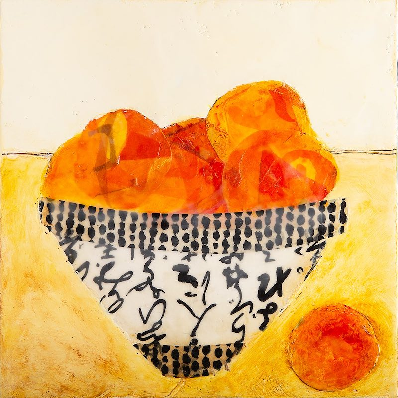 Peaches, encaustic wax and oil with collaged painted papers embedded in the wax