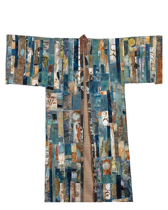 Reconstructed Kimono, stitched bits of indigo/rusted/printed/eco-dyed papers