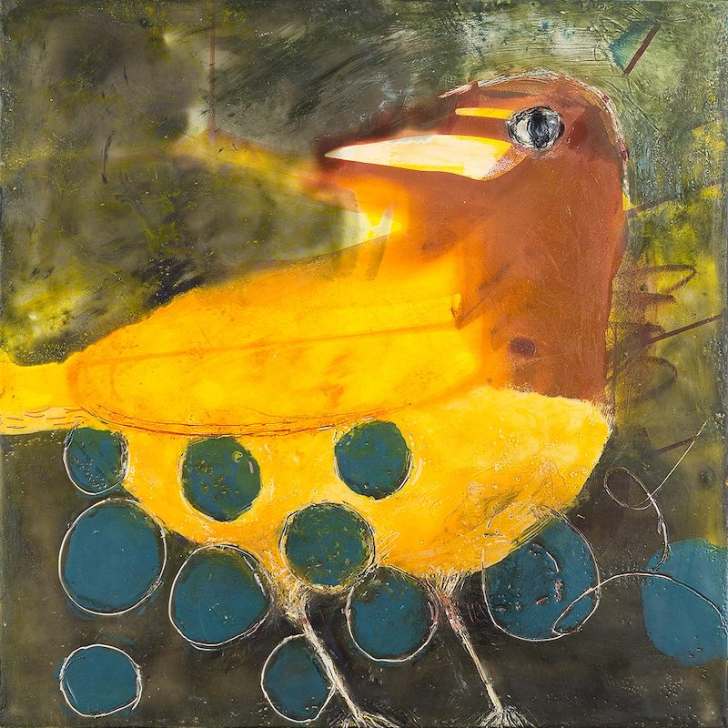 She Lays Blue Eggs, encaustic wax and oil with collaged painted papers embedded in the wax