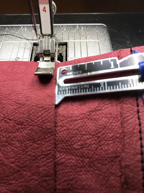 Sewing the hinge and making sure it is the right size
