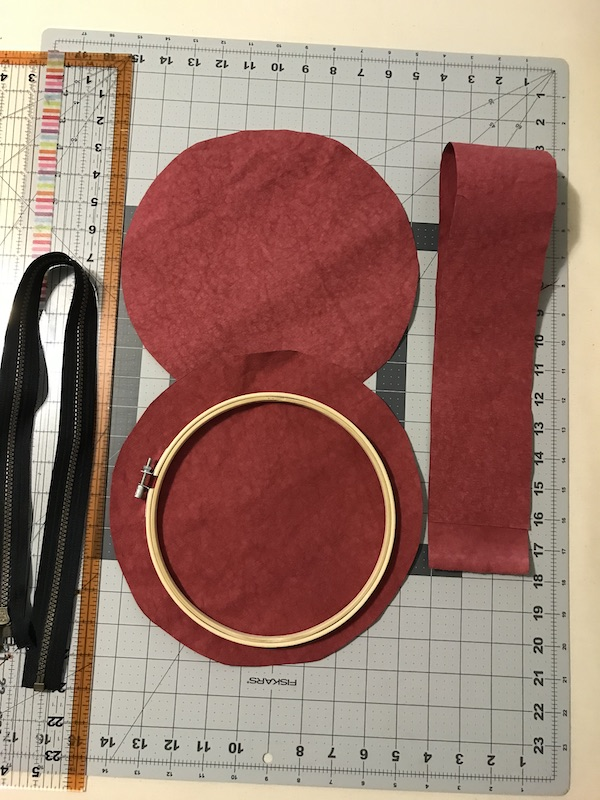 Supplies needed to make a Hoop Art Project Organizer