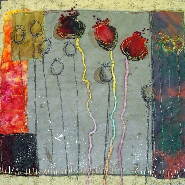 Poppies, a textile piece by Lorie