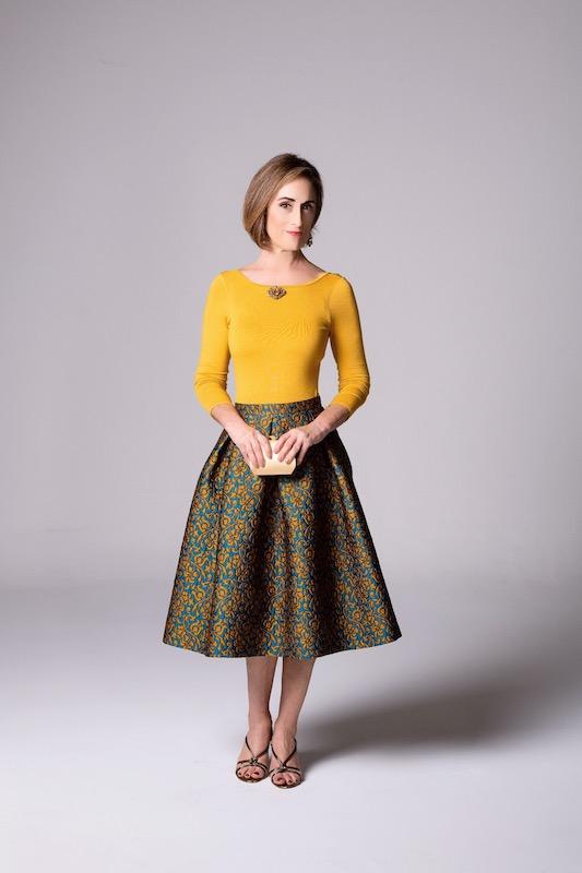 Julie in a handmade skirt