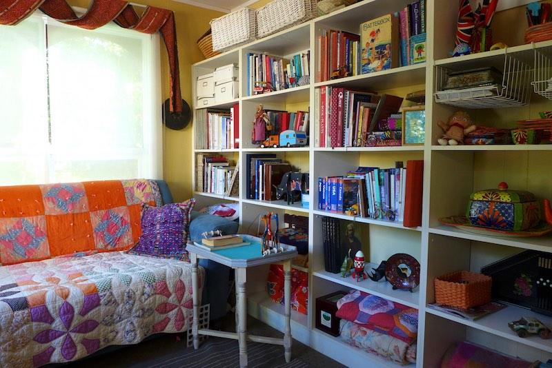 Pam's library in her art studio