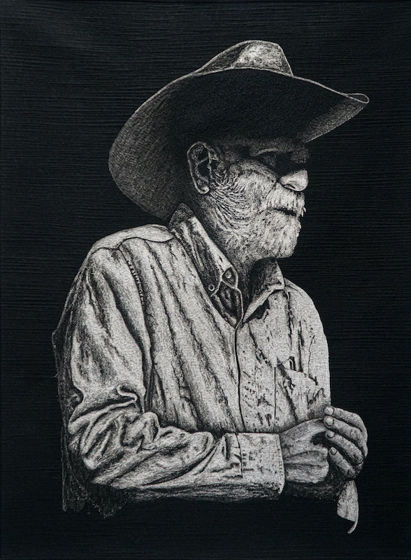 Threadpainted cowboy in black and white