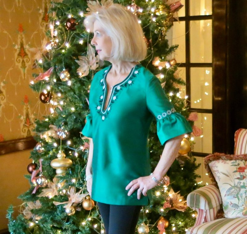 Sarah in one of her signature tunic tops
