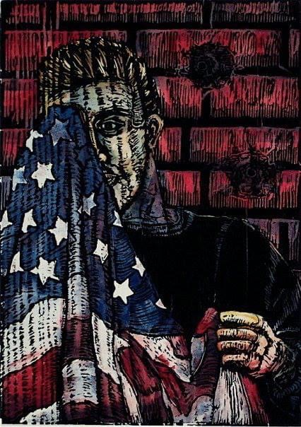 Print of man with United States Flag