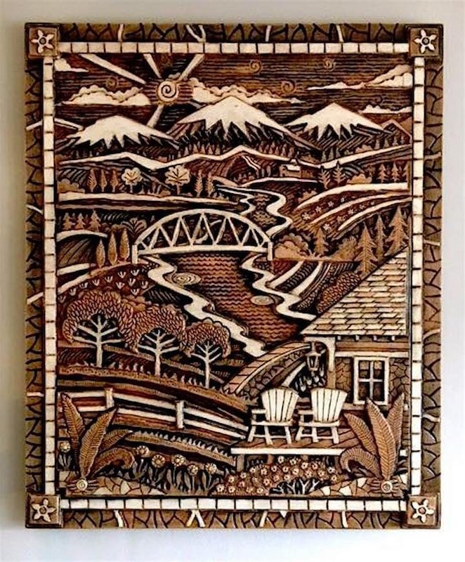 Print of mountains, bridge and cabin