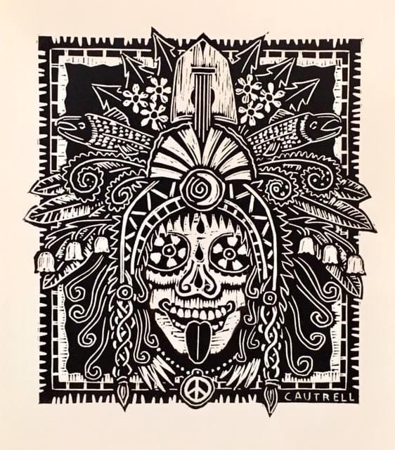Print of a skull candy with a peace sign