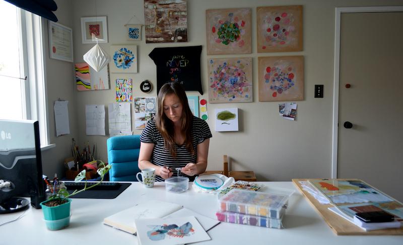 Ngaio Blackwood in her studio